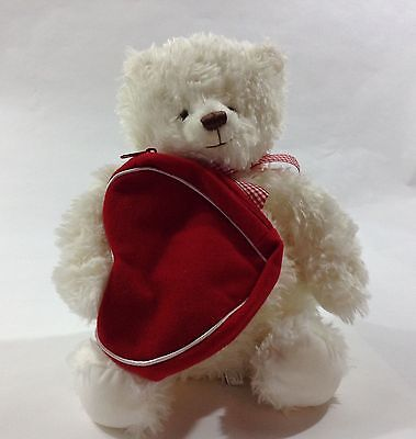 New Hallmark Valentine's Day White Teddy Bear W/zippered Red Heart Pouch 4 Gift