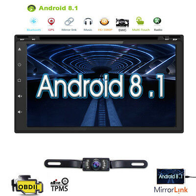 """GPS+MAP+Cam-Double 2Din In Dash 7"""" Car Stereo DVD Player Radio BT iPod"""