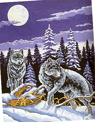 """""""Wolf Pair on the Hunt""""  Tapestry STRANDED COTTON KIT to stitch- 50 x 60cm !"""