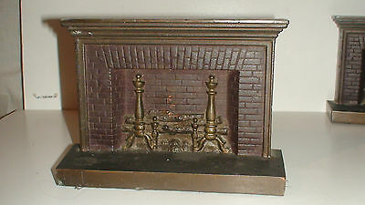 2Of3] Rare Bradely & Hubbard Polychrome Cast Iron Fireplace Bookends 1920