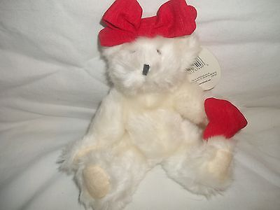 NEW Hallmark Valentine's White Plush Stuffed Emily Jointed Teddy Bear Red Heart