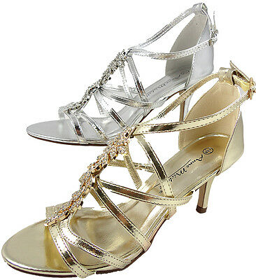 Womens Diamante Strappy Mid Heel Silver, Gold Sandals Evening Wedding Shoes