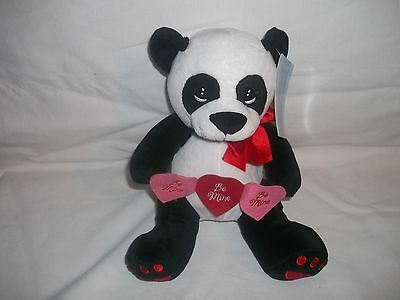 "New Precious Moments Valentine Panda #735001 Holding ""be Mine"" Hearts 10"" Plush"