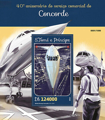 Sao Tome & Principe 2016 MNH Concorde Commercial Service 1v S/S Aviation Stamps