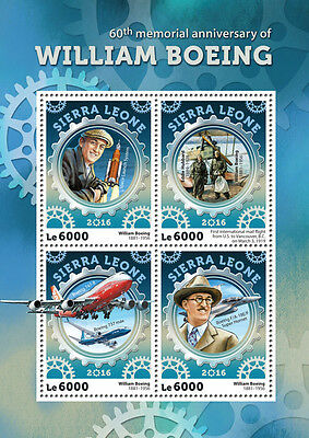 Sierra Leone 2016 MNH William Boeing 60th Mem 4v M/S Aircraft Aviation Stamps