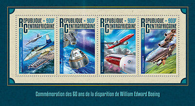Central African Rep 2016 MNH William Boeing 60th Mem 4v M/S Aviation Stamps