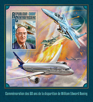Central African Rep 2016 MNH William Boeing 60th Mem 1v S/S Aviation Stamps