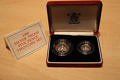 *** 1990, UK, Royal Mint, Silver Proof Five Pence Two-Coin Set ***