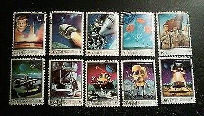 10 x Yemen Stamps Conquest of the moon complete set