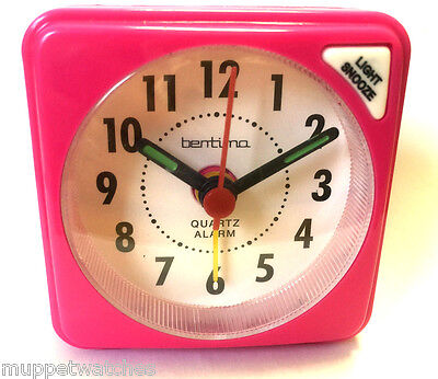 PINK TRAVEL ALARM CLOCK QUARTZ SMALL CLEAR FACE ACCTIM Light Snooze with BATTERY
