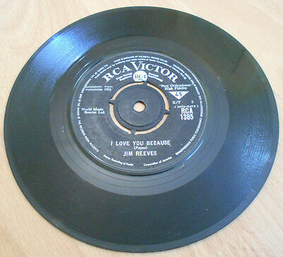"""Jim Reeves - I Love You Because - 7"""" Inch 45 Vinyl Single - RCA Victor 1963"""