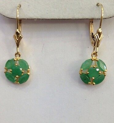 14k Solid Yellow Gold Dangle Leverback Earrings W/Natural Emerald Marquise1.56GM