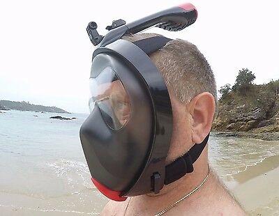 Full Face Snorkeling Mask New Longer Breather Pipe GoPro Mount Aust Latest Mod