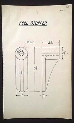 Harland & Wolff, Belfast - 1930's Shipyard Eng. Drawing, KEEL STOPPER (P68)