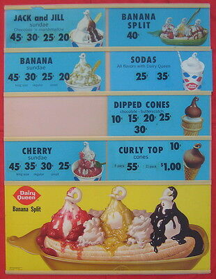 Dairy Queen 1959 transparent menu board w/ colorful transparency sheets
