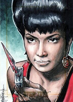 Star Trek ToS 50th Anniversary Rare Warren Martineck / Uhura Sketch Card