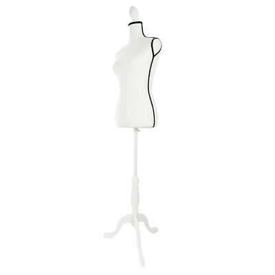 Female Mannequin Torso Dress Form Clothing Display with White Tripod Stand Beige