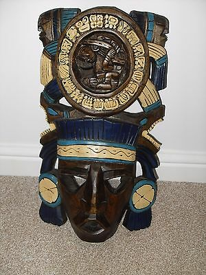 Rare Hand Carved Mayan Wooden Mask