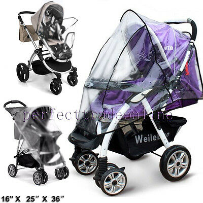 Quality Universal Buggy Pushchair Stroller Pram Transparent Rain Cover Care Baby