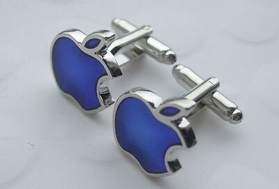 NEW (in Pouch) APPLE Blue Cuff Links