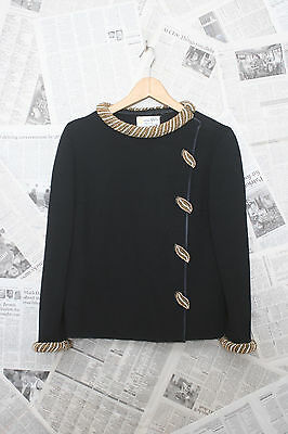 Vintage Marco Polo 100% Pure Wool snap closure Top with beaded Detailing