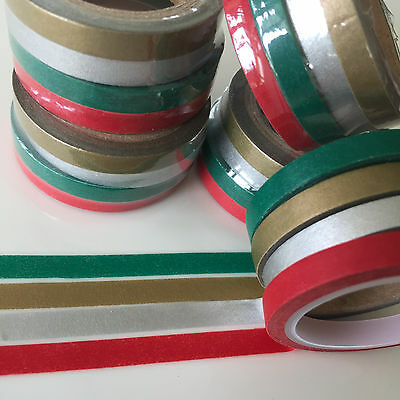 Washi Tape Thin Skinny Festive 4 Roll Set Each 5Mm X 5Mtrs Scrap Craft Plan Wrap