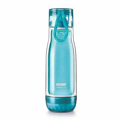 Zoku Double Wall Glass Core Outdoor Sports Hydration Water Bottle, 475ml, Teal