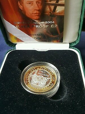 2004 silver proof £2 coin 200 years of the stream engine box coa