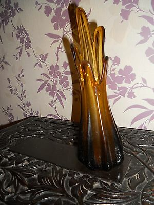 vintage green glass vase 9 inch