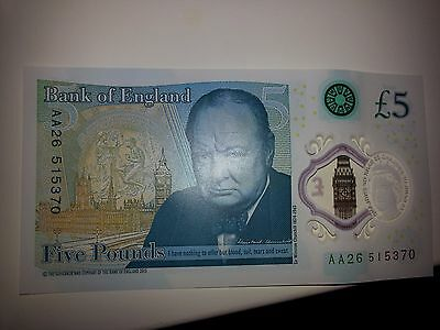 UK Polymer Five Pound Note AA26 515370 Serial Number. New Five Pound Note