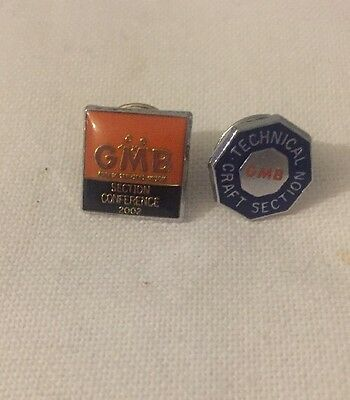 Two GMB Trade Union Badges