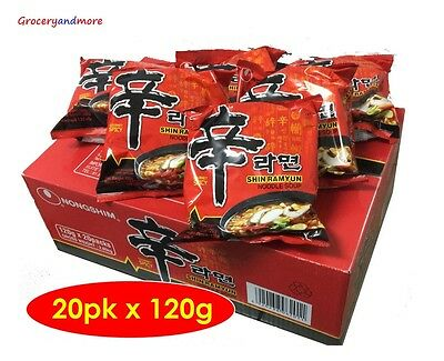 Nong Shim Spicy Instant Noodles box of 20 packs x 120g - Nongshim Shin Ramyun