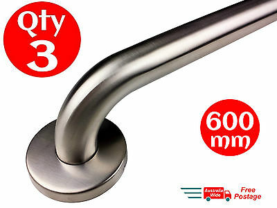 3x SAFETY RAIL 600mm GRAB BAR STAINLESS STEEL PULL SHOWER HAND BATHROOM HANDRAIL