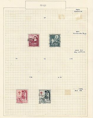 SPAIN 1952-3 Collection  on Old Album Page  items removed for Postage