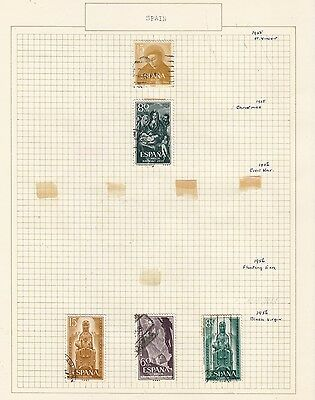 SPAIN 1955-56 Collection  on Old Album Page  items removed for Postage