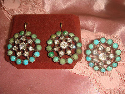 Antique Victorian 14Kt Gold Silver Turquoise French Paste Earrings Ring 6.5 Set