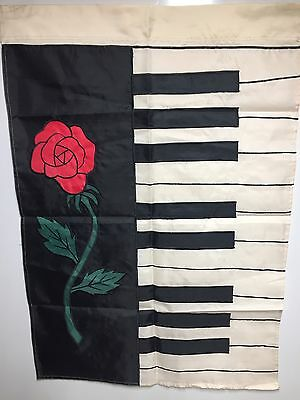 """Piano Rose Hanging Decorative Flag NCE 28""""x40"""" NEW"""