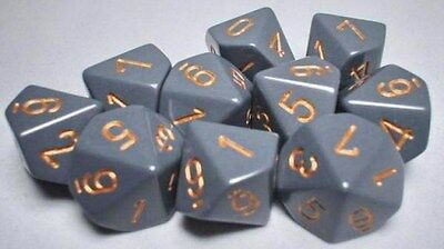 10 d10 Dice Set Chessex OPAQUE DARK GREY copper 25220 Dice MATT DARK GREY