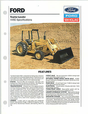1989 Ford New Holland Tractor Loader 445 C Brochure Catalog