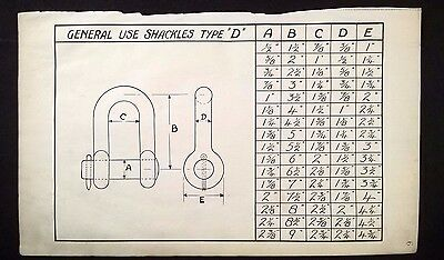 Harland & Wolff 1930's Shipyard  Eng. Drawing - GENERAL USE SHACKLES TYPE D (P6)
