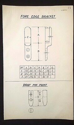 Harland & Wolff 1930's Shipyard Drawing FORE EDGE BRACKET, DROP PIN POINT (P71)