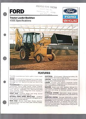 1989 New Holland Ford Tractor 455C  Backhoe Loader Sales Brochure