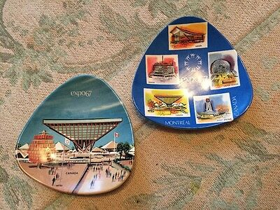 2x Vintage Melaware CANADA EXPO 67 National Pavilions Dishes/Plates