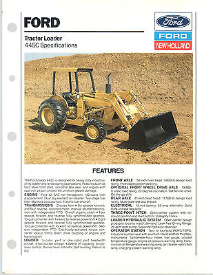 1989 Ford New Holland Tractor 445C Loader Brochure