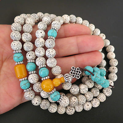 8mm*108 Star Moon Polished White Bodhi Seeds Prayer Mala Women Necklace