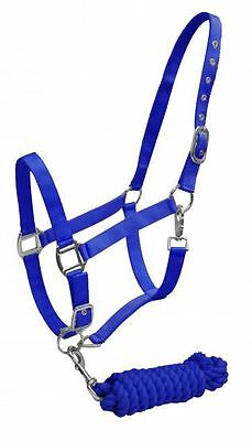 BLUE  Horse Size Adjustable Nylon Halter with Matching Cotton Lead Rope