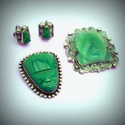 Two Silver Jade Mask Mexican Pins and Earrings