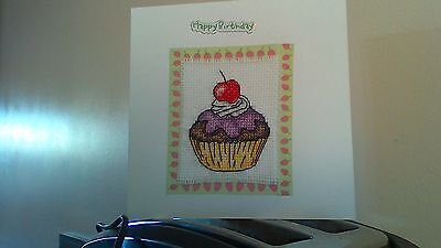 Pretty Cupcake Large Completed Cross Stitch Birthday Card And Envelope