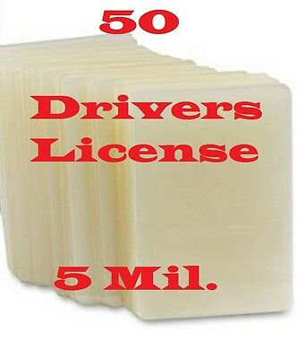 Drivers License 50 PK 5 mil Quality Laminating Pouch Sheets 2-3/8 x 3-5/8