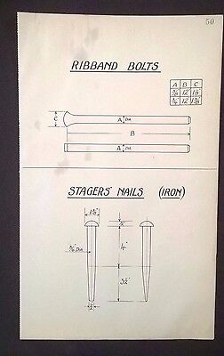 Harland & Wolff 1930's Shipyard Eng. Drawing RIBBAND BOLTS, STAGERS' NAILS (P50)